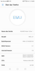Huawei Mate 10 Lite EMUI System 3