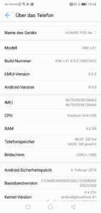 Huawei P20 Lite Android 8 with EMUI 1