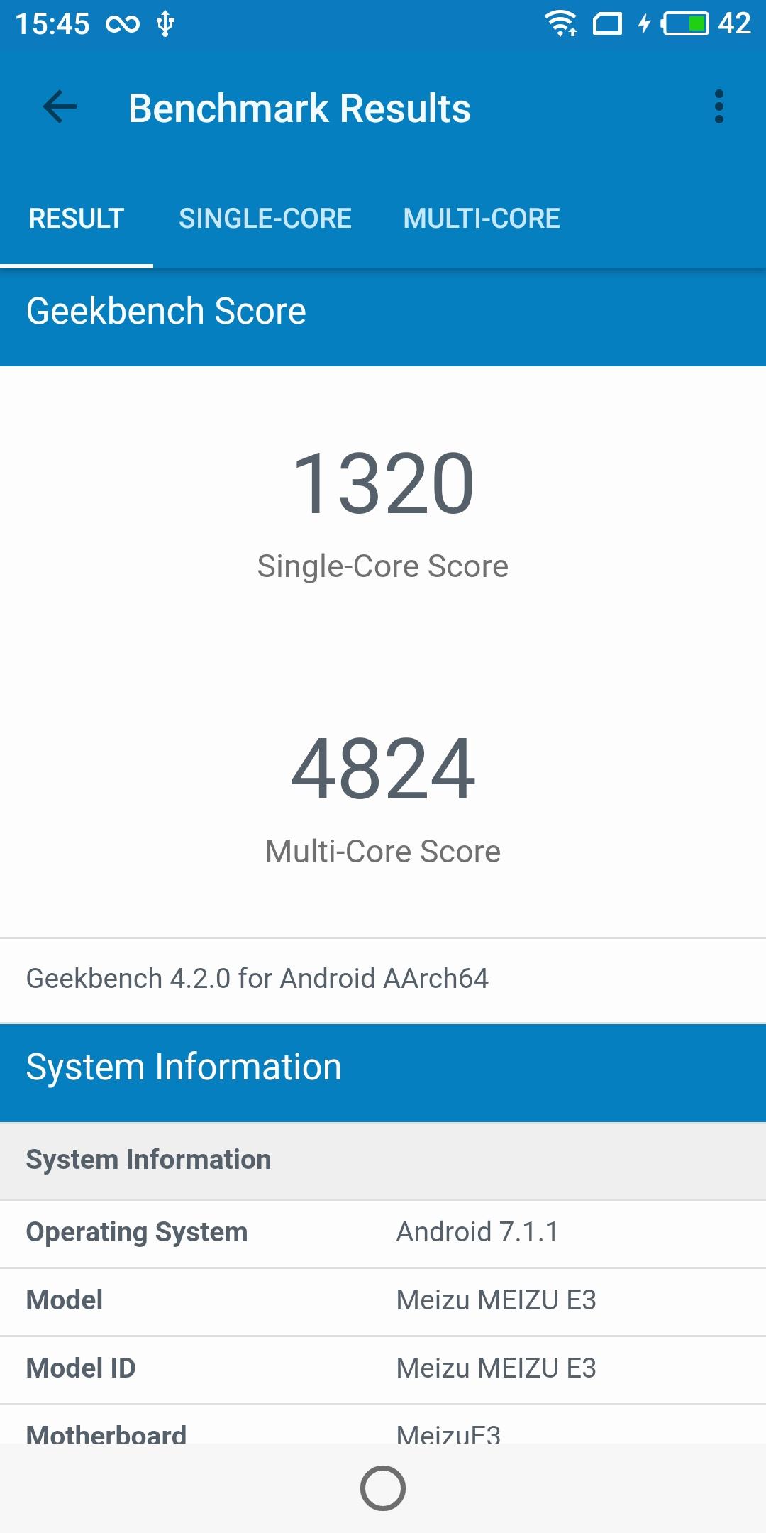 Meizu E3 Geekbench CPU