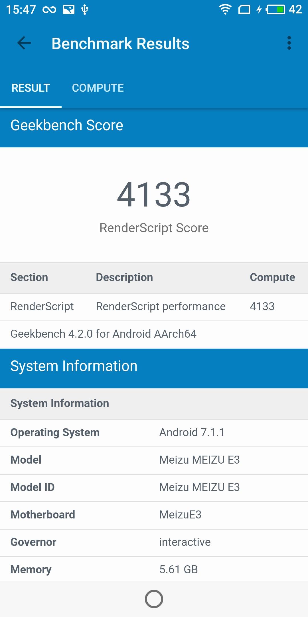 Meizu E3 Geekbench GPU