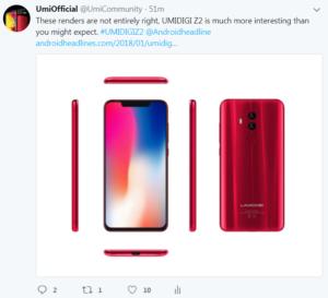 UMIDIGI Z2 Twitter Official