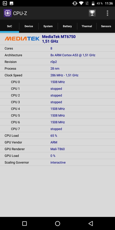 Vernee M6 CPU Z