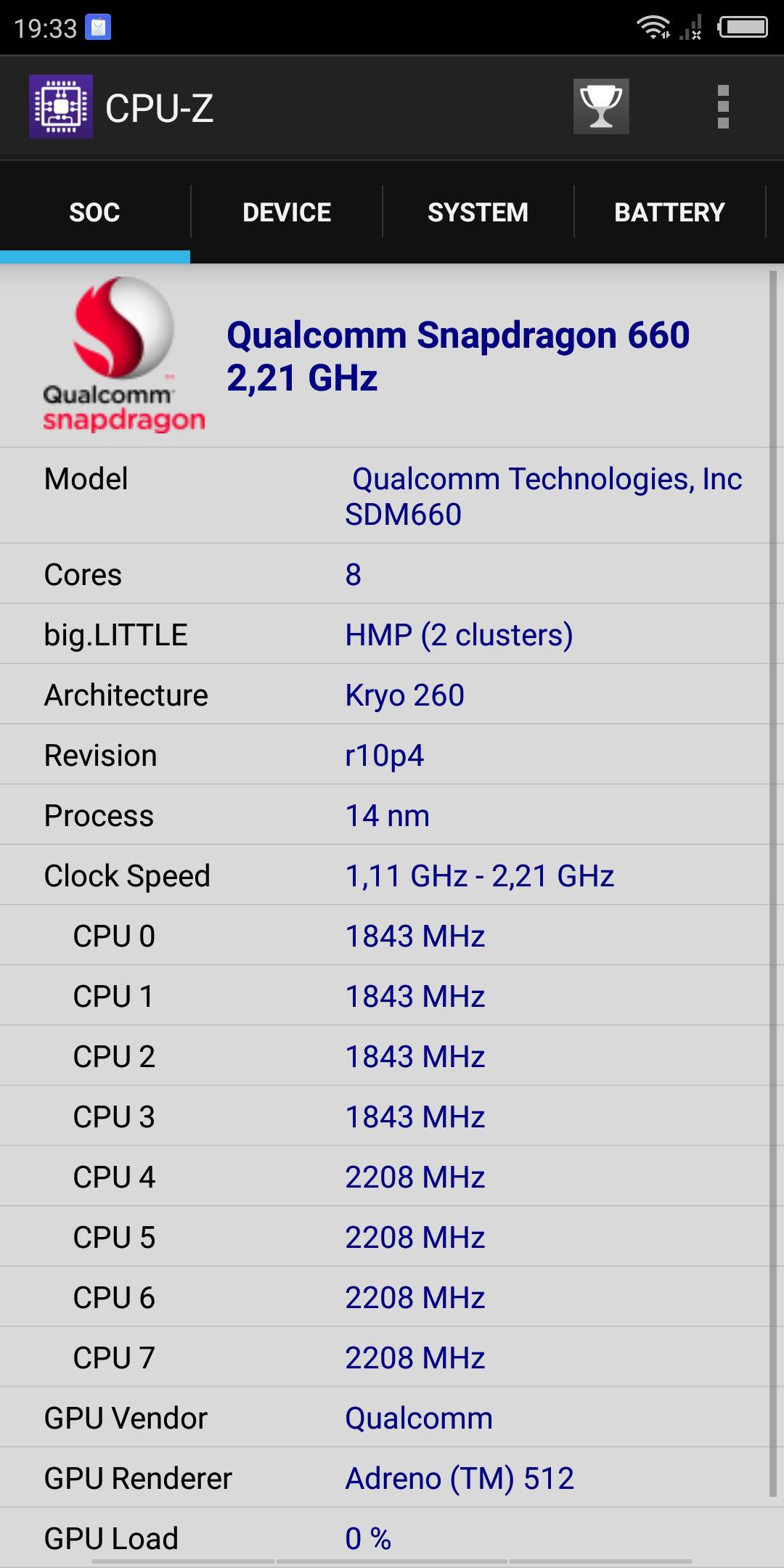 Nubia Z18 Mini Snapdragon 660 CPUZ