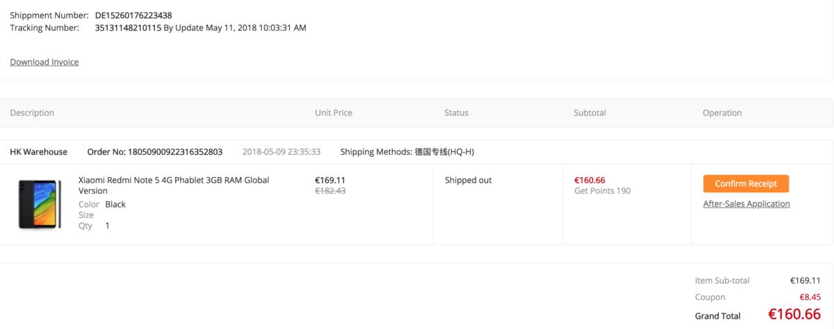 Gearbest Redmi Note 5 Bestellung