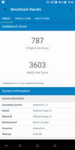 Ulefone Power 5 Geekbench 4 CPU