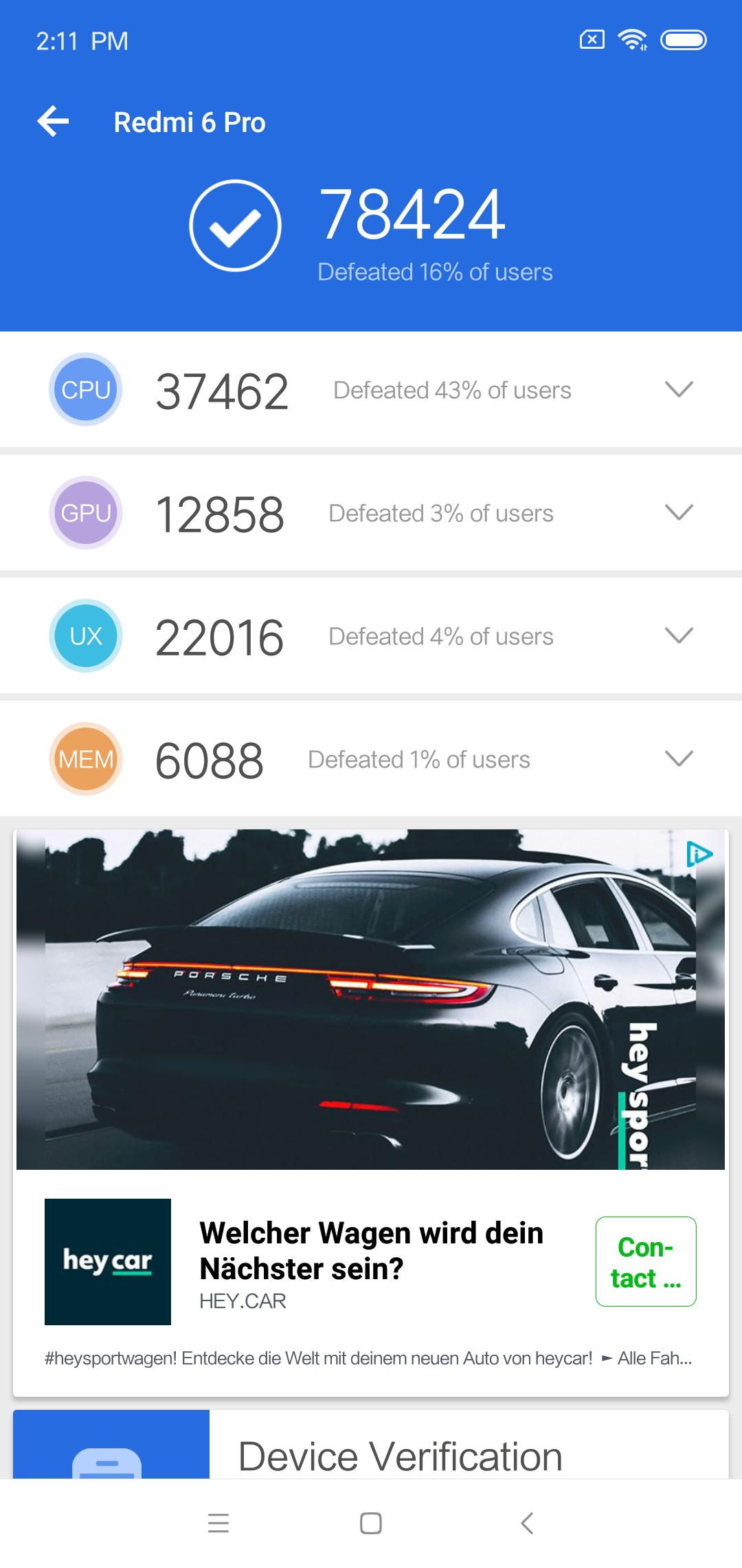 Xiami Redmi 6 Pro Antutu Benchmark