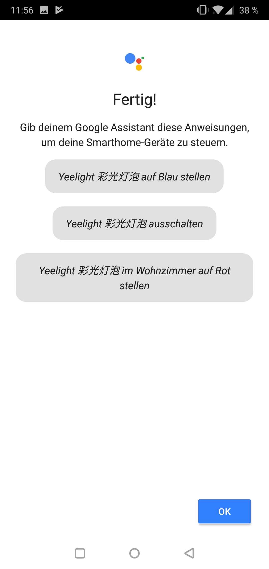 Yeelight 2nd Generation Smart Bulb Glühbirne Testbericht Screenshot Yeelight App Google Smart Home 11