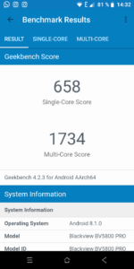 Screenshot Geekbench Blackview BV5800 Pro