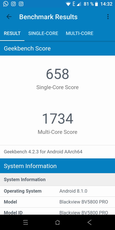 Screenshot Geekbench Blackview BV5800 Pro