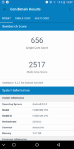 Homtom S99 Geekbench CPU