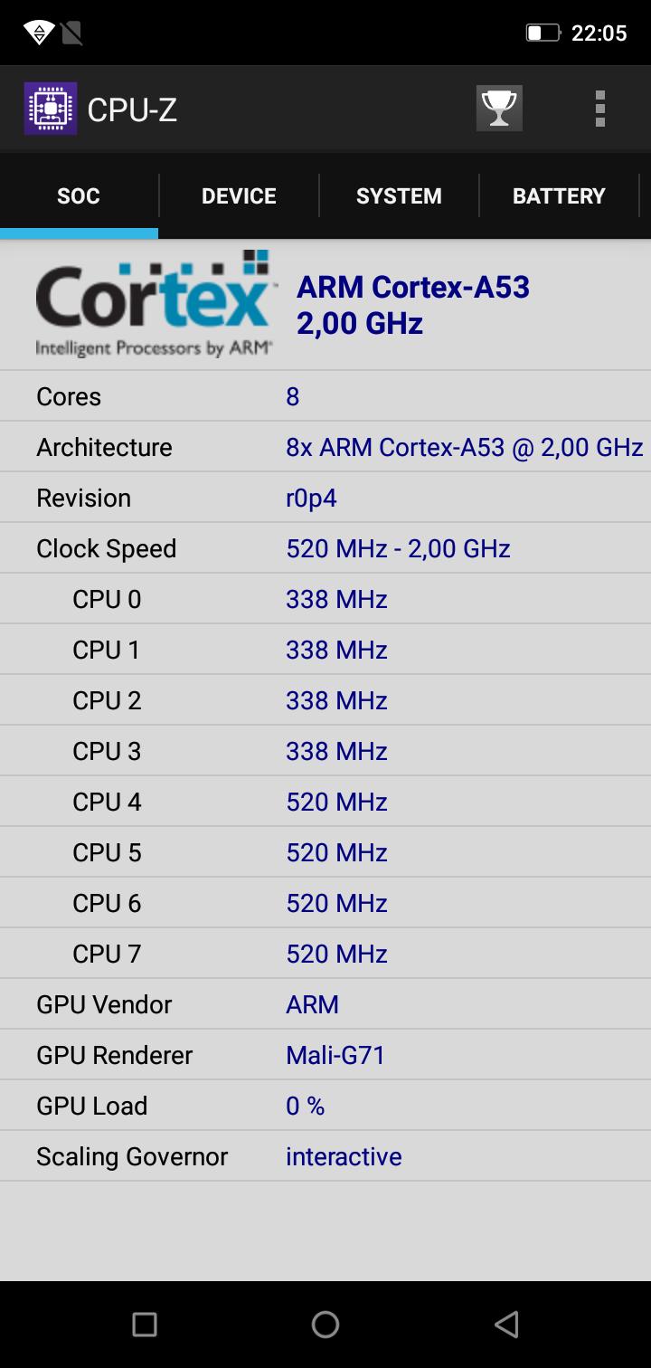 Ulefone X CPUZ