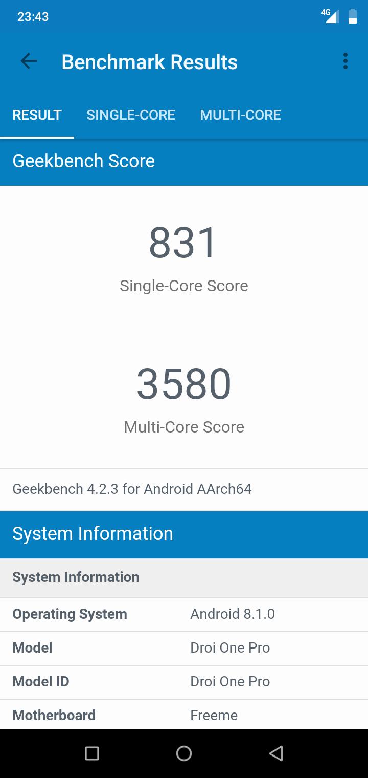 Umidigi one pro Geekbench4