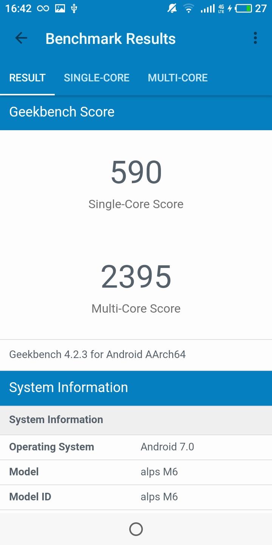 Meizu M6T Gekkbench CPU