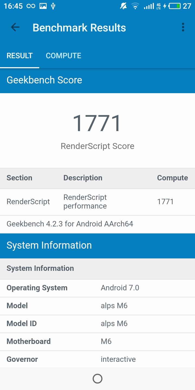 Meizu M6T Gekkbench GPU