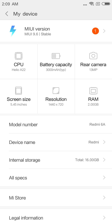 Xiaomi Redmi 6a Testbericht Screenshots System 6