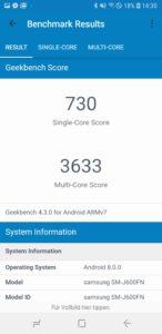 Samsung J6 Duos geekbench