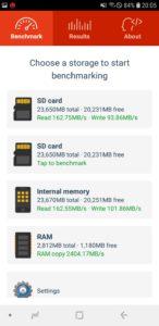 Samsung Galaxy A6 Speicher Geschwindigkeiten