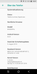 Blackview BV6800 Pro System Android 8 1