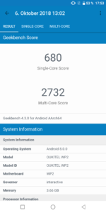 Oukitel WP2 Geekbench