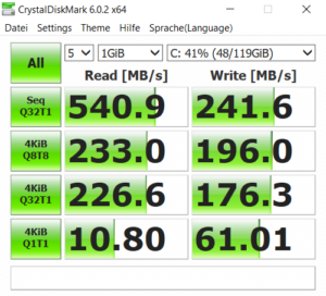 Speicher SDD Geschwindigkeit Mi Notebook 15.5