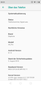Elephone A4 Pro System Android 8 1