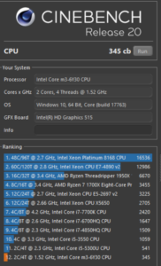 chuwi aerobook cinebench