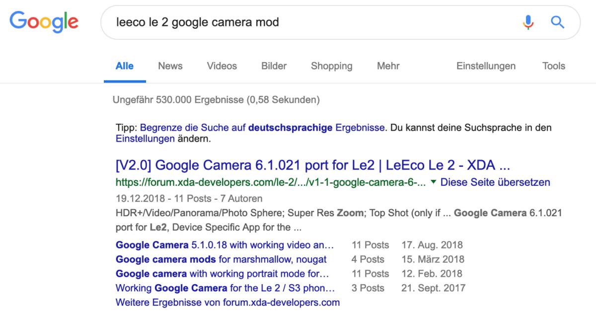 Google Camera Mod finden
