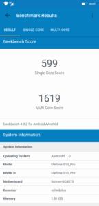 Ulefone S10 Pro Geekbench
