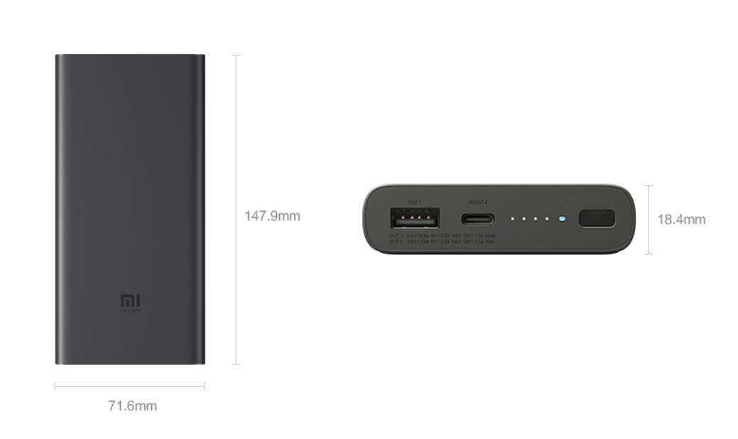 Xiaomi kabelloses Laden powerbank Abmessungen