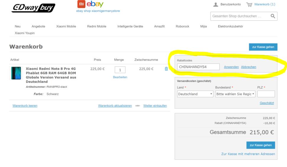 Gutscheinfeld Gutschein eingeben Edwaybuy Onlineshop