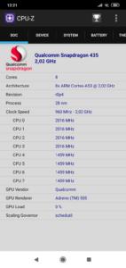 Xiaomi Redmi 8 CPU Z