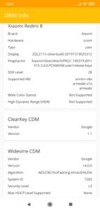 Xiaomi Redmi 8 Widevine