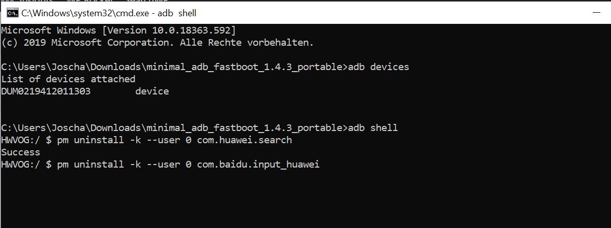 ADB Huawei Apps löschen