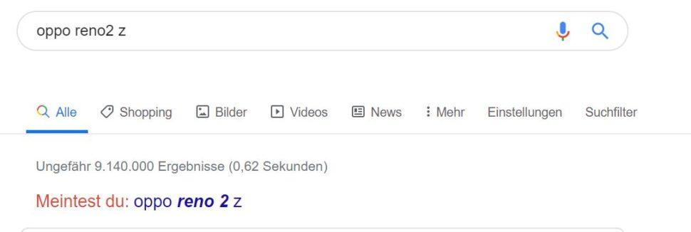 Oppo Reno 2Z Korrektur Google
