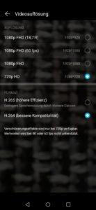 Honor 20 Lite Videoauflösung