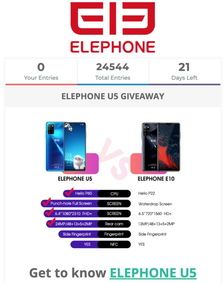 Elephone U5 Giveaway