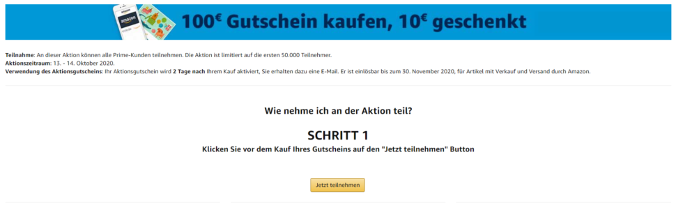 Amazon 10 € Gutscheinaktion