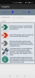 Googlefier App Hauptmenü