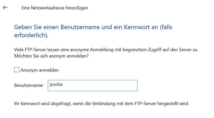 Benutzernamen FTP Android in Windows
