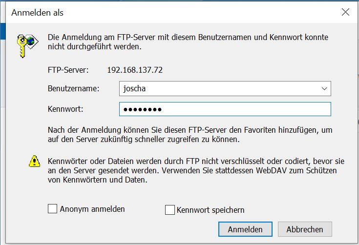 FTP Server Passwort