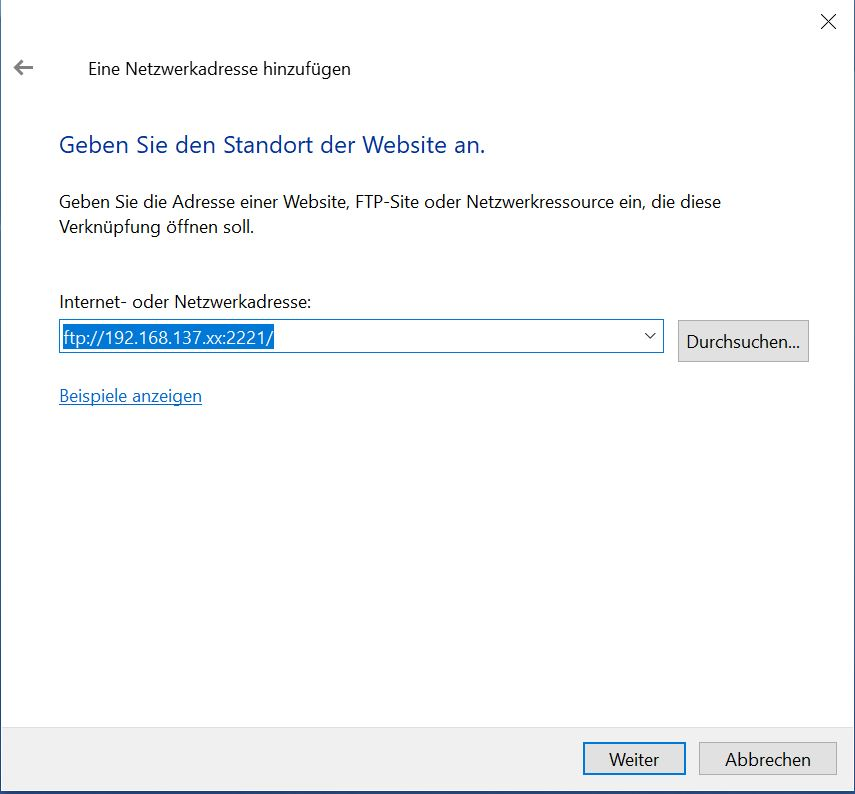 android wifi ftp laufwerkadresse in windows