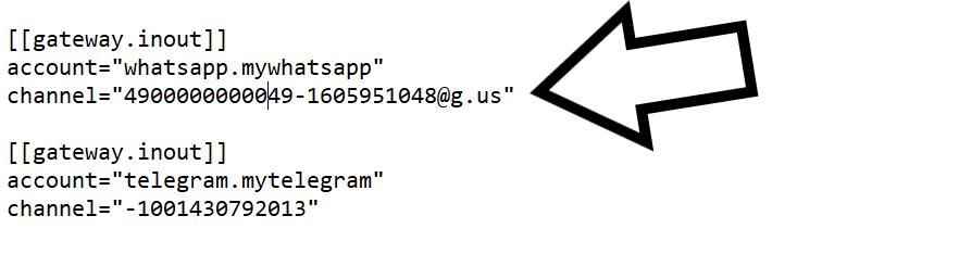 whatsapp GroupID in matterbridge einfügen