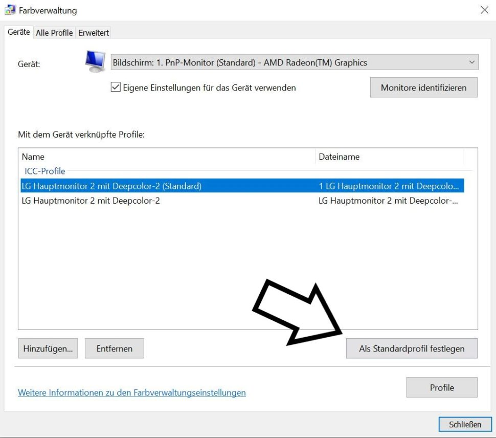 Windows Farbprofil importieren 3