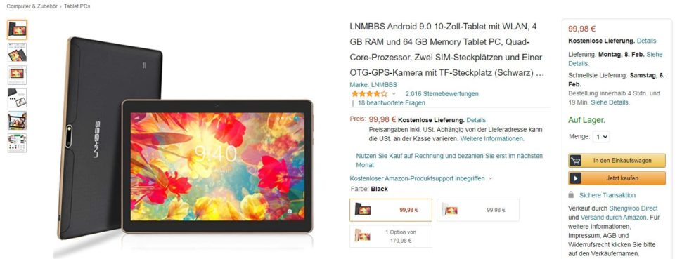 LNMBBS Android Tablet 10 Zoll Amazon