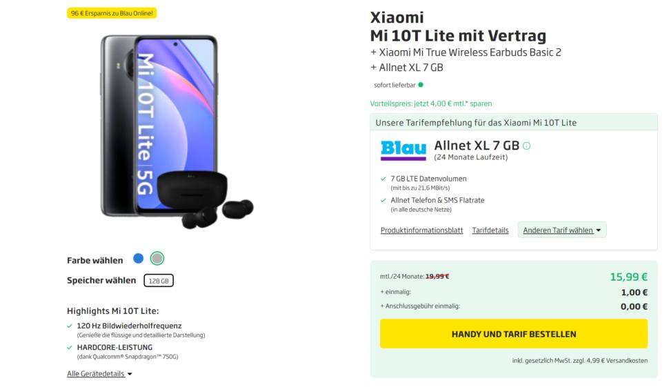 Xiaomi Mi 10T Lite im Vertrag