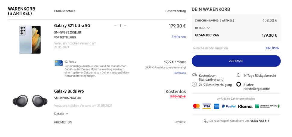Samsung Onlineshop Checkout