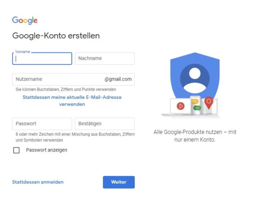 Google Account für Google Fotos erstellen