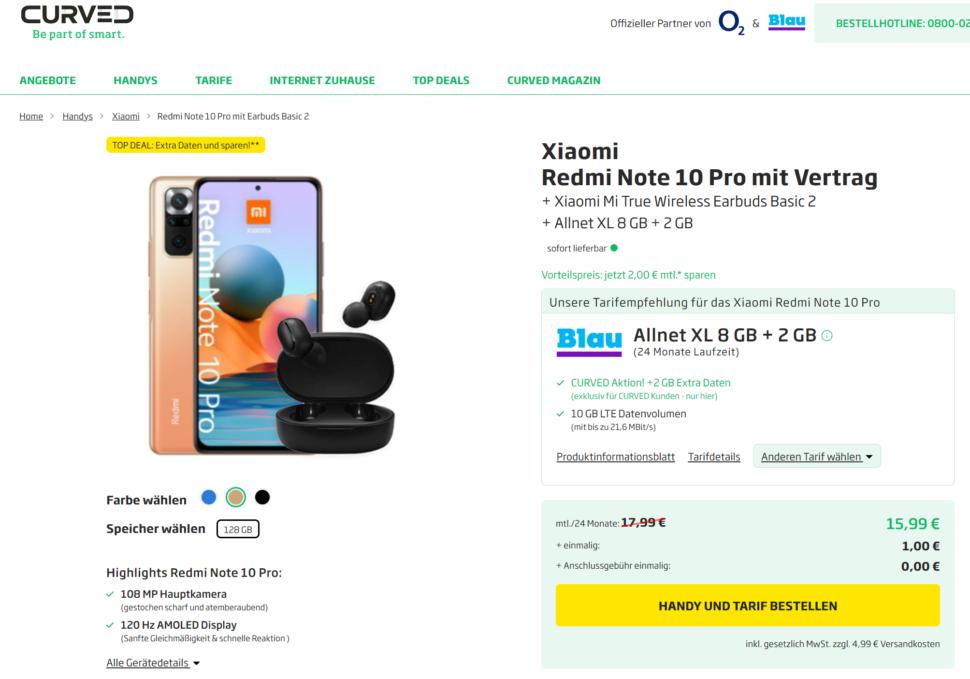 Redmi Note 10 Pro Cuved Shop Angebot