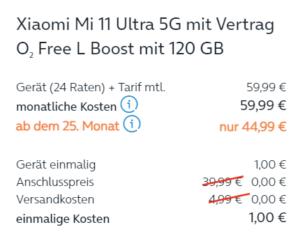 Tarifkosten O2 Mi 11 Ultra Angebot