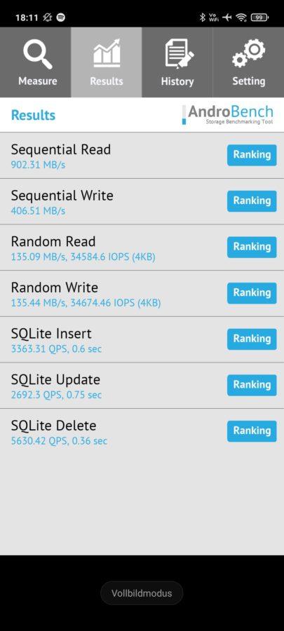 Xiaomi Redmi Note 10 5G Speichergeschwindigkeit